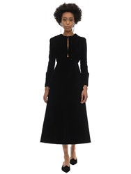 Emilia Wickstead Draped Velvet Dress W Cut Outs Black