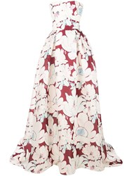 Carolina Herrera Floral Print Gown Red