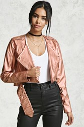 Forever 21 Metallic Faux Leather Jacket Rose Gold