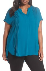Sejour Plus Size Pleat Tunic Teal Gloss