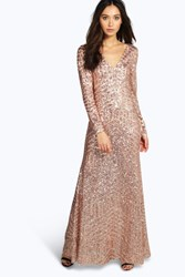 Boohoo Mia Sequin And Mesh Plunge Neck Maxi Dress Nude