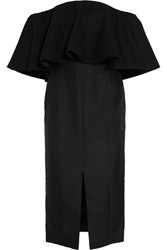 Paper London Gina Ruffled Off The Shoulder Duchesse Satin Dress Black
