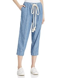 Free People Everyday Chambray Cropped Drawstring Pants Blue