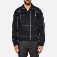 A.P.C. Men's Checked Teddy Jacket Dark Navy Blue