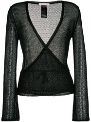 Kristina Ti Open Knit Wrap Cardigan Black