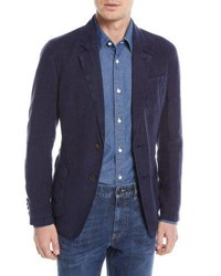 Zegna Sport Linen Two Button Blazer Blue
