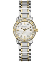 Bulova Women's Diamond Accent Two Tone Stainless Steel Bracelet Watch 26Mm 98R107