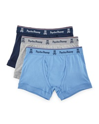 Psycho Bunny Tagless Boxer Brief Three Piece Set Navy Gray Light Blue