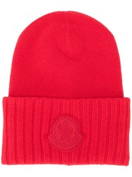 Moncler Logo Patch Beanie Red