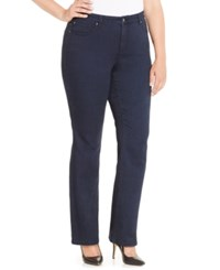 Charter Club Plus Size Lexington Tummy Control Straight Leg Jeans Only At Macy's Indigo Blue Wash
