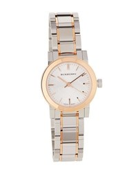 Burberry 26Mm City Two Tone Bracelet Watch Rose Gold Silver