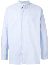 Makavelic Printed Button Down Shirt Blue
