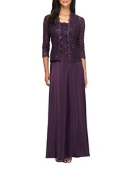 Alex Evenings Two Piece Lace Gown And Jacket Set Eggplant