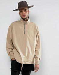 Asos Woven Half Zip Sweatshirt With Funnel Neck In Beige Oxford Tan
