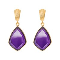 Juvi Glamour Puss Earrings With Amethyst Pink Purple