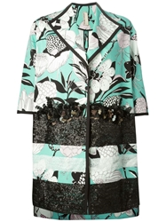 Antonio Marras Floral Print Sequin Embellished Coat Multicolour