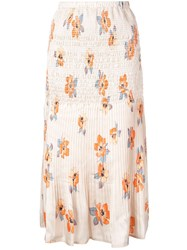 Nicholas Floral Midi Skirt Orange