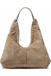 Halston Ali Leather Trimmed Suede Tote Mushroom
