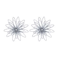 Gisela Graham Tinsel Flower Clip Decorative Ornaments Set Of 2 Silver