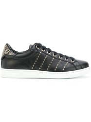 Dsquared2 Studded Tennis Club Sneakers Men Leather Metal Other Rubber 43 Black