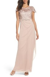 Xscape Evenings Women's Lace Column Gown Taupe