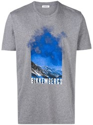 Dirk Bikkembergs Mountain Print T Shirt Grey