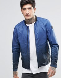 Replay Nylon Bomber Zip Front Dip Dye Navy