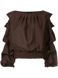 Aula Pleat Detail Top Polyester Wool Brown