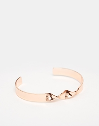Asos Bangle With Twisted Detail In Rose Gold Rosegold