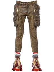 Dsquared Waxed Stretch Cotton Twill Cargo Pants Brown