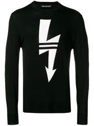 Neil Barrett Lightning Print Sweater Black