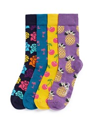 Happy Socks Pop Mixed Pattern 4 Pair Gift Box Multi Colour
