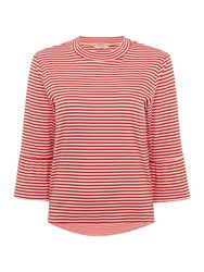 Maison Scotch Red And White Striped T Shirt With Flared Sleeve Red