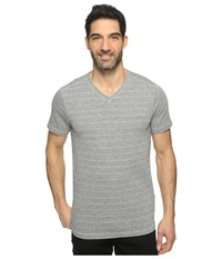 Agave Hal Short Sleeve V Neck Tri Blend Jersey Stripe Block Heather Gray Men's Clothing