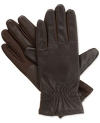 Isotoner Signature Smartouch Stretch Leather Tech Gloves Brown