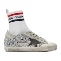 Golden Goose White And Silver Superstar Sock High Top Sneakers
