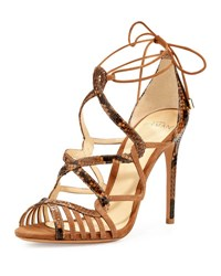 Alexandre Birman Marina Suede And Python Lace Up Sandal Tan Beige