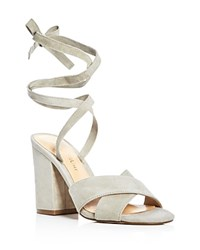 Ivanka Trump Kuriel Ankle Tie High Heel Sandals Mushroom Gray