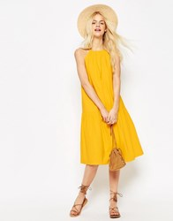 Asos Tiered Linen Midi Sundress Yellow
