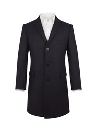 Aston And Gunn Men's Read Navy Herringbone Overcoat Navy