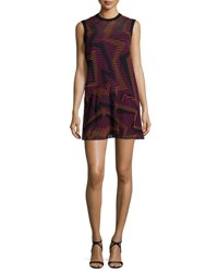 M Missoni Sleeveless Ribbed Geometric Knit Dress Fuchsia