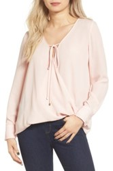 Wayf Wrap Front Long Sleeve Blouse Pink