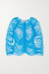 Molly Goddard Una Ruched Tulle Top Blue