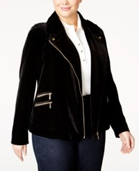 Inc International Concepts Plus Size Velvet Moto Jacket Only At Macy's Deep Black