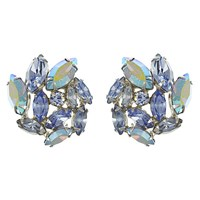Eclectica Vintage 1950S Weiss Chrome Plated Glass Rhinestone Clip On Earrings Sky Blue