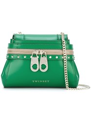 Twin Set Zip Detail Shoulder Bag Green