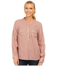 Carve Designs Dylan Chambray Shirt Sunset Check Women's Long Sleeve Pullover Brown