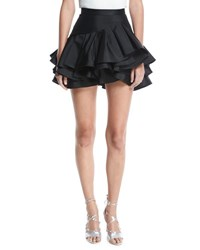 Elie Saab Tiered Ruffle Cocktail Skirt Black