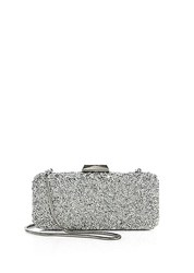 Saks Fifth Avenue Long Rectangular Crystal Clutch Silver