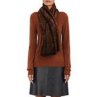 Barneys New York Women's Knitted Mink Pull Through Scarf Brown